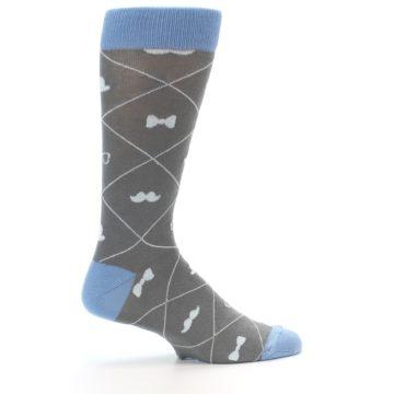 Image of Grey Blue Hipster Pattern Men's Dress Socks (side-1-24)