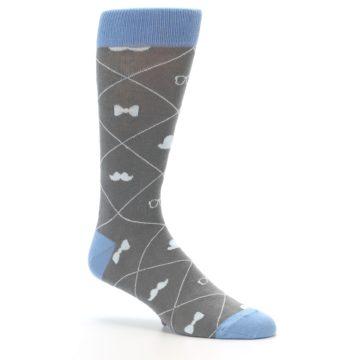 Image of Grey Blue Hipster Pattern Men's Dress Socks (side-1-26)