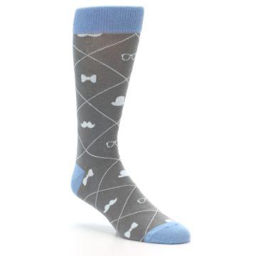 Image of Grey Blue Hipster Pattern Men's Dress Socks (side-1-27)