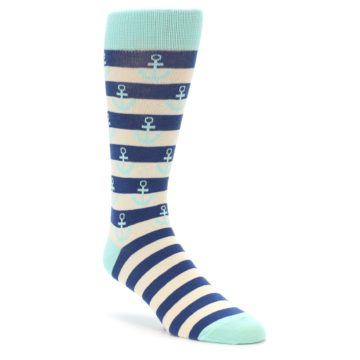 Image of Aqua Navy Anchor Stripe Men's Dress Socks (side-1-front-01)