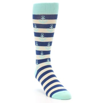 Image of Aqua Navy Anchor Stripe Men's Dress Socks (side-1-front-02)