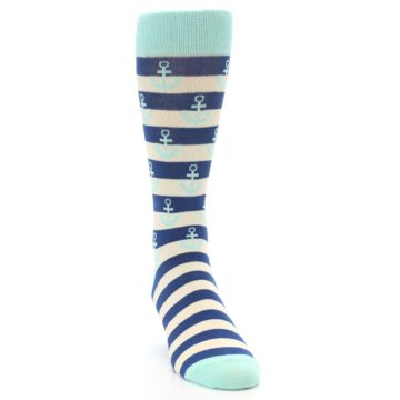 Image of Aqua Navy Anchor Stripe Men's Dress Socks (side-1-front-03)