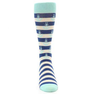 Image of Aqua Navy Anchor Stripe Men's Dress Socks (front-04)