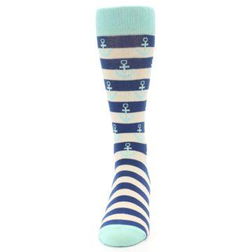 Image of Aqua Navy Anchor Stripe Men's Dress Socks (front-05)