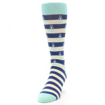 Image of Aqua Navy Anchor Stripe Men's Dress Socks (side-2-front-06)