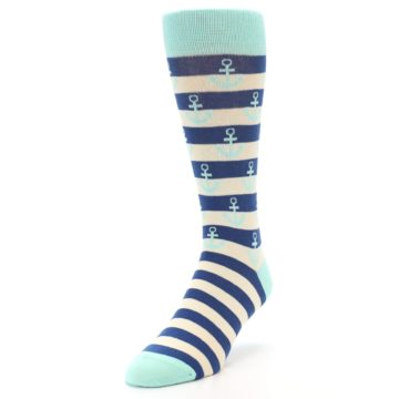 Image of Aqua Navy Anchor Stripe Men's Dress Socks (side-2-front-07)