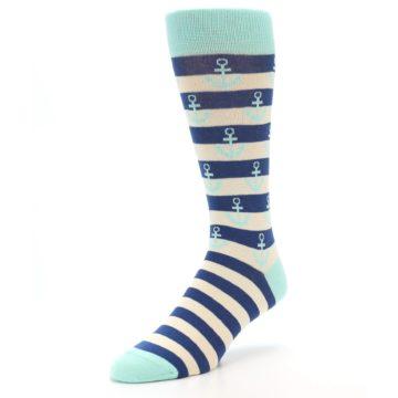 Image of Aqua Navy Anchor Stripe Men's Dress Socks (side-2-front-08)