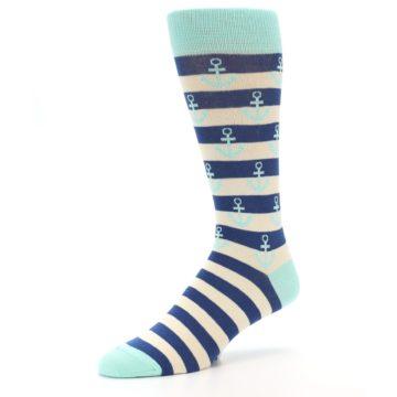 Image of Aqua Navy Anchor Stripe Men's Dress Socks (side-2-09)