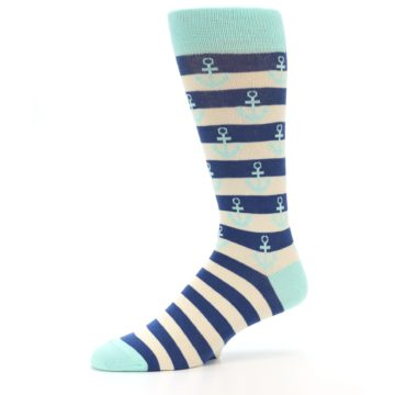 Image of Aqua Navy Anchor Stripe Men's Dress Socks (side-2-10)