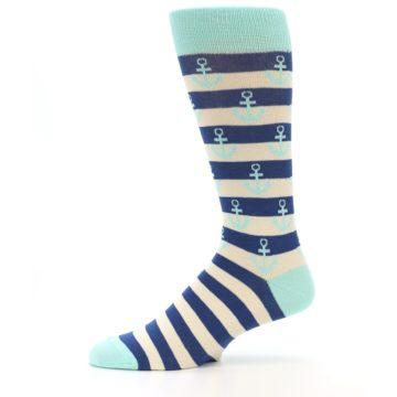 Image of Aqua Navy Anchor Stripe Men's Dress Socks (side-2-11)