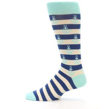 Image of Aqua Navy Anchor Stripe Men's Dress Socks (side-2-12)