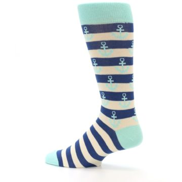 Image of Aqua Navy Anchor Stripe Men's Dress Socks (side-2-13)