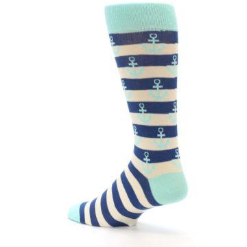 Image of Aqua Navy Anchor Stripe Men's Dress Socks (side-2-back-14)