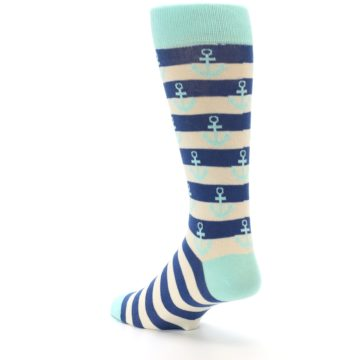 Image of Aqua Navy Anchor Stripe Men's Dress Socks (side-2-back-15)