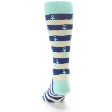 Image of Aqua Navy Anchor Stripe Men's Dress Socks (back-17)