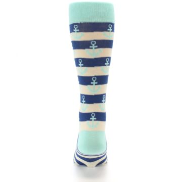 Image of Aqua Navy Anchor Stripe Men's Dress Socks (back-18)