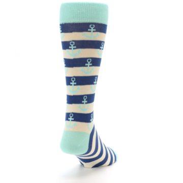 Image of Aqua Navy Anchor Stripe Men's Dress Socks (side-1-back-20)