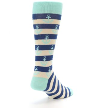 Image of Aqua Navy Anchor Stripe Men's Dress Socks (side-1-back-21)