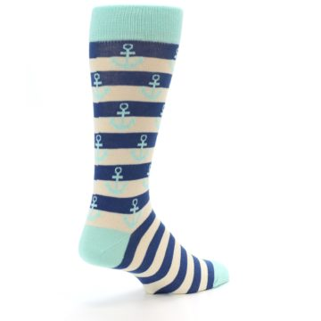 Image of Aqua Navy Anchor Stripe Men's Dress Socks (side-1-back-22)
