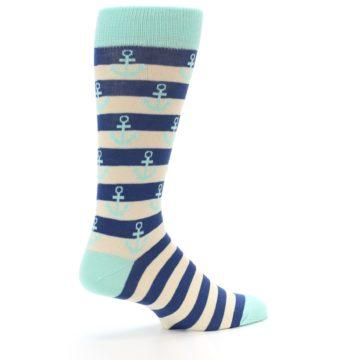 Image of Aqua Navy Anchor Stripe Men's Dress Socks (side-1-23)