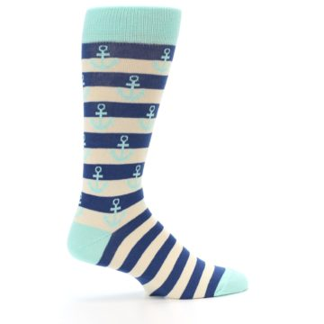 Image of Aqua Navy Anchor Stripe Men's Dress Socks (side-1-24)