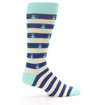 Image of Aqua Navy Anchor Stripe Men's Dress Socks (side-1-24)