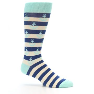 Image of Aqua Navy Anchor Stripe Men's Dress Socks (side-1-25)