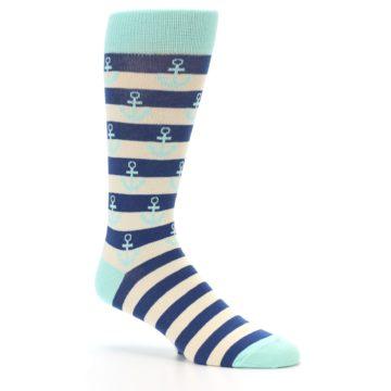 Image of Aqua Navy Anchor Stripe Men's Dress Socks (side-1-26)