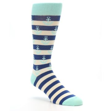 Image of Aqua Navy Anchor Stripe Men's Dress Socks (side-1-27)