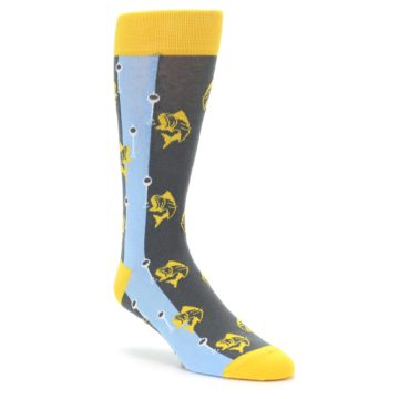 Image of Yellow Blue Fishing Men's Dress Socks (side-1-front-01)
