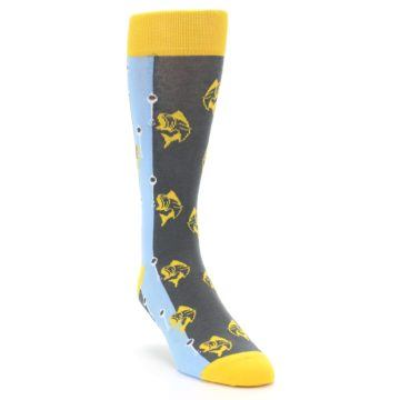 Image of Yellow Blue Fishing Men's Dress Socks (side-1-front-02)