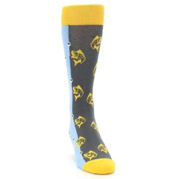 Image of Yellow Blue Fishing Men's Dress Socks (side-1-front-03)