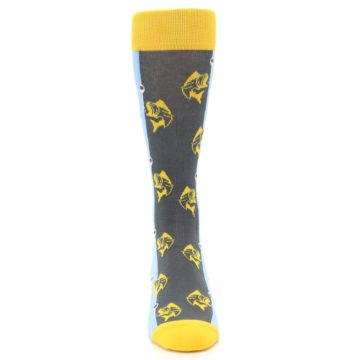 Image of Yellow Blue Fishing Men's Dress Socks (front-04)