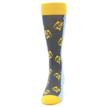 Image of Yellow Blue Fishing Men's Dress Socks (front-05)