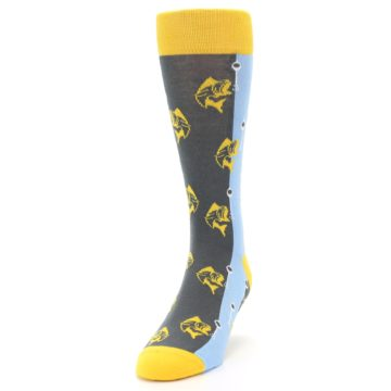 Image of Yellow Blue Fishing Men's Dress Socks (side-2-front-06)
