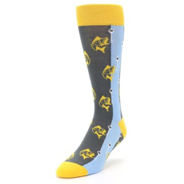 Image of Yellow Blue Fishing Men's Dress Socks (side-2-front-07)