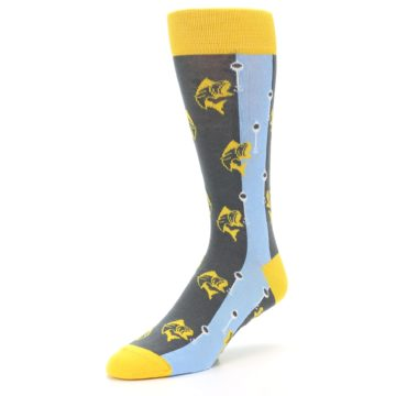 Image of Yellow Blue Fishing Men's Dress Socks (side-2-front-08)