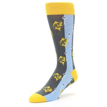 Image of Yellow Blue Fishing Men's Dress Socks (side-2-front-08)