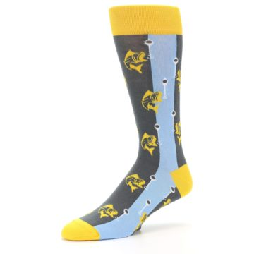 Image of Yellow Blue Fishing Men's Dress Socks (side-2-09)