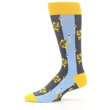 Image of Yellow Blue Fishing Men's Dress Socks (side-2-11)