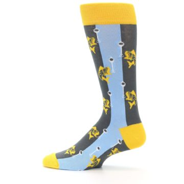 Image of Yellow Blue Fishing Men's Dress Socks (side-2-12)