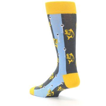 Image of Yellow Blue Fishing Men's Dress Socks (side-2-back-14)