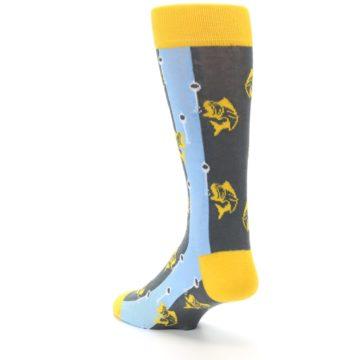 Image of Yellow Blue Fishing Men's Dress Socks (side-2-back-15)