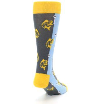 Image of Yellow Blue Fishing Men's Dress Socks (side-1-back-20)