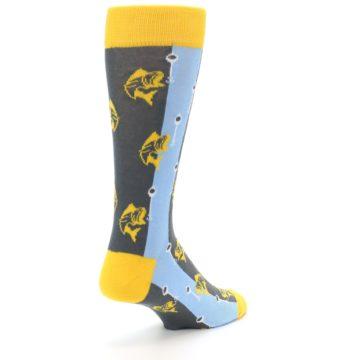 Image of Yellow Blue Fishing Men's Dress Socks (side-1-back-21)