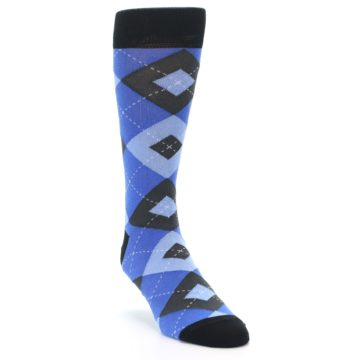 Image of Blue Gray Black Argyle Men's Dress Socks (side-1-front-02)