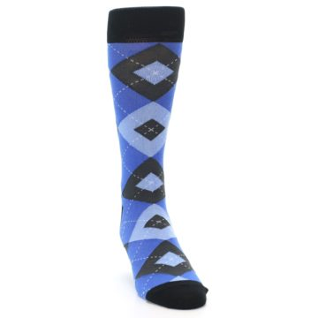 Image of Blue Gray Black Argyle Men's Dress Socks (side-1-front-03)