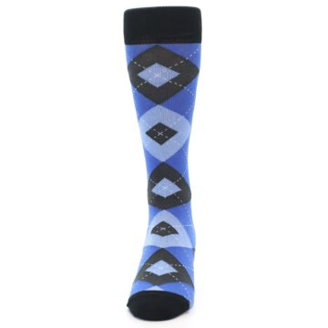 Image of Blue Gray Black Argyle Men's Dress Socks (front-05)