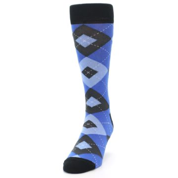 Image of Blue Gray Black Argyle Men's Dress Socks (side-2-front-06)