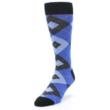 Image of Blue Gray Black Argyle Men's Dress Socks (side-2-front-07)